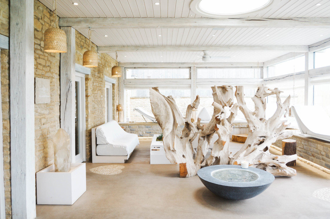 A look inside the Bamford Haybarn Spa, a day spa at Daylesford Farm in the English Countryside.