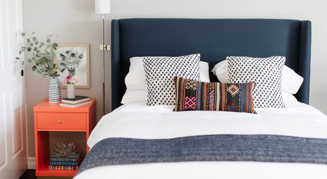 A guest bedroom makeover with Brooklinen sheets, making luxury affordable.